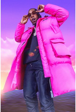 Bright pink Burna Boy 4 Pocket Longline Hooded Puffer
