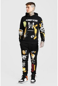 Black Oversized MAN Spray Print Tracksuit