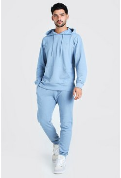 Dusty blue blue Pique Man Signature Hooded Tracksuit