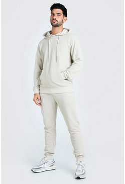 Stone beige Pique Man Signature Hooded Tracksuit