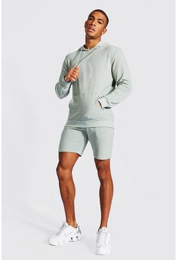 Sage green Pique Hooded Short Tracksuit