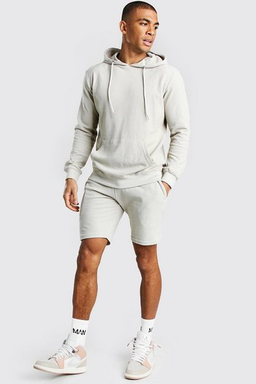 Stone beige Pique Hooded Short Tracksuit