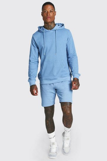Dusty blue blue Pique Hooded Short Tracksuit