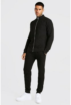 Black MAN Signature Pique Funnel Neck Tracksuit