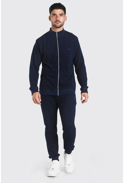 Navy MAN Signature Pique Funnel Neck Tracksuit