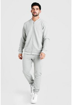 Grey Pique MAN Bomber Tracksuit With Contrast Rib