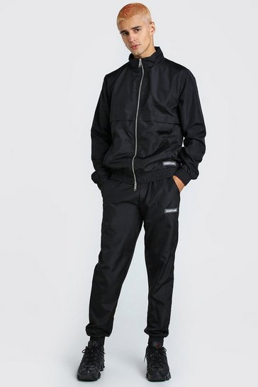 Black Shell Track Top And Jogger With MAN Tab