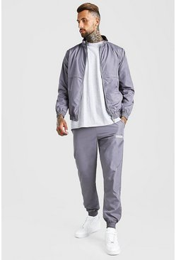 Grey Shell Track Top And Jogger With MAN Tab