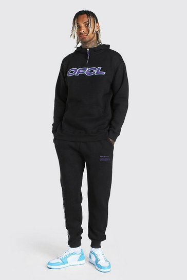 Black Loose Fit Official Print Snood Hooded Tracksuit