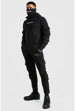Black MAN Official Cargo Snood Tracksuit