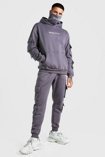 Charcoal grey MAN Official Cargo Snood Tracksuit