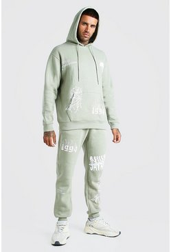Sage green Loose Fit Official MAN Graffiti Hooded Tracksuit