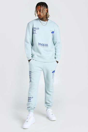 Blue Loose Fit MAN Official Graffiti Sweater Tracksuit