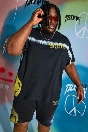 Black Plus Size Loose Fit Drip Face Tie Dye T-shirt