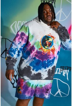 Multi Plus Size Loose Fit Trippy Funk Hoodie