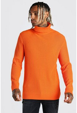 Balaclava Roll Neck Knitted Jumper, Orange