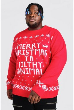 Red Plus Size Ya Filthy Animal Christmas Jumper