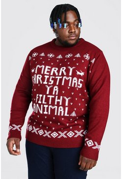Wine red Plus Size Ya Filthy Animal Christmas Jumper