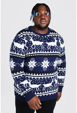 Navy Plus Size Reindeer Fairisle Christmas Jumper