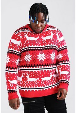 Red Plus Size Reindeer Fairisle Christmas Jumper