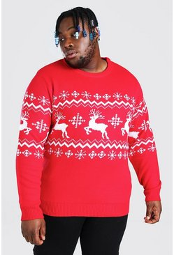 Red Plus Size Reindeer Panel Christmas Jumper