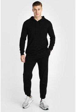 Knitted Hoodie And Jogger Tracksuit, Black