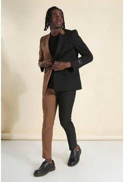 Brown MAN Skinny Plain Spliced Suit Trouser