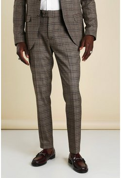 Brown Skinny Heritage Check Suit Trousers