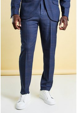 Navy Slim Check Suit Trouser