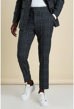 Black Skinny Check Cropped Suit Pants