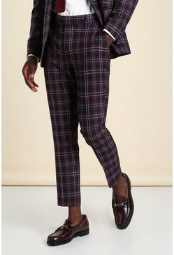 Wine red Super Skinny Tartan Cropped Suit Trouser