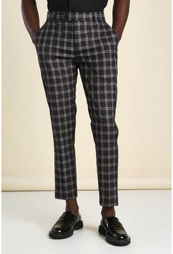 Wine red Skinny Windowpane Check Smart Cropped Trouser