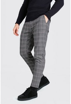 Black Skinny Check Cropped Smart Trouser