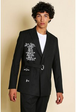 Black Slim Graffiti Printed Double Breasted Suit Jacket