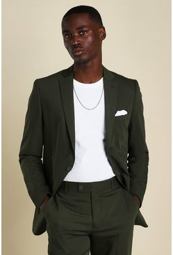 Khaki Skinny Plain Suit Jacket