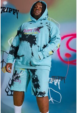 Blue Plus Size Loose Fit Worldwide Tie Dye Hoodie