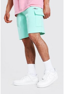 Mint green Man Signature Mid Regular Cargo Jersey Shorts