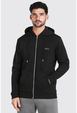Black Original MAN Embroidered Zip Through Hoodie