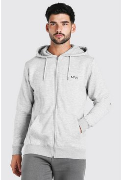 Grey marl grey Original MAN Embroidered Zip Through Hoodie