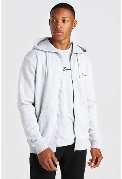 Grey marl grey MAN Signature Embroidered Zip Through Hoodie
