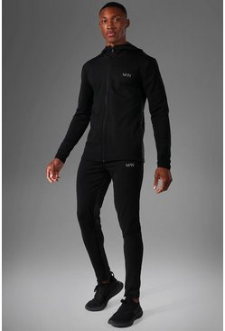 Man Active Skinny Fit Panelled Tracksuit, Black Чёрный
