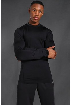 Man Active Compression Long Sleeve T-shirt, Black nero