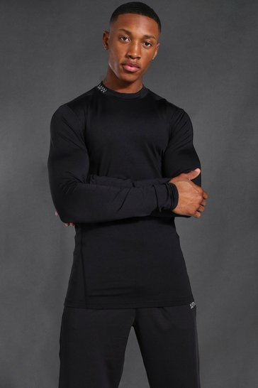 Black Man Active Compression Long Sleeve T-shirt