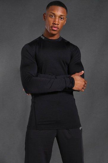 Black Man Active Compression Long Sleeve T-shirt