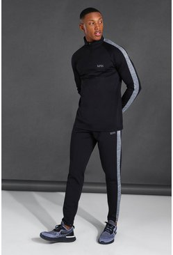 Man Active Funnel Neck Tracksuit, Black Чёрный