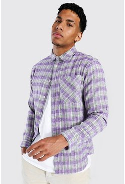 Regular Fit Check Shirt, Purple viola