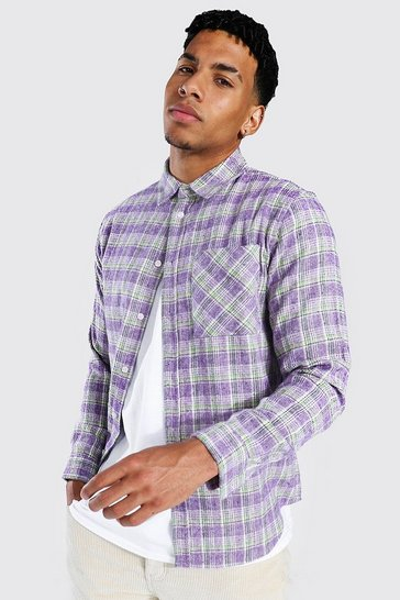 Purple Regular Fit Check Shirt