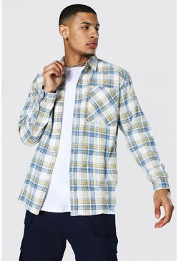 Oversized Check Shirt, Blue azzurro