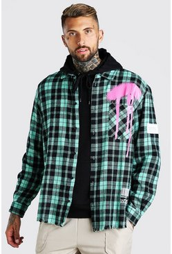 Green Long Sleeve Oversized Graffiti Print Flannel Shirt
