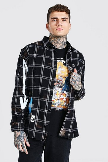 Black Long Sleeve Oversized Baller Graffiti Check Shirt